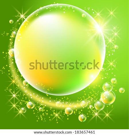 Bubbles and stars on green background - stock vector