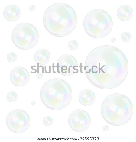 Bubbles background over white