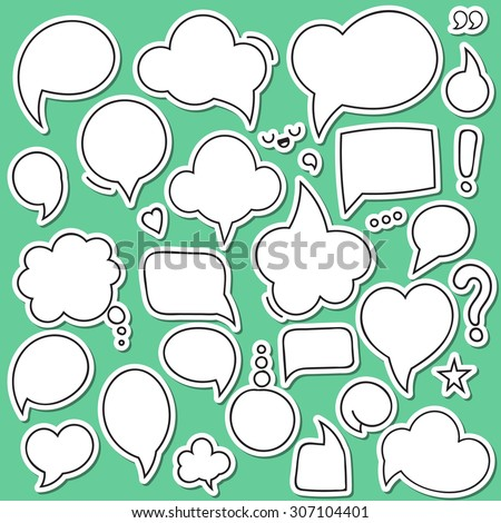 Bubbles dialogues set of isolated sticker.  Cartoon cloud