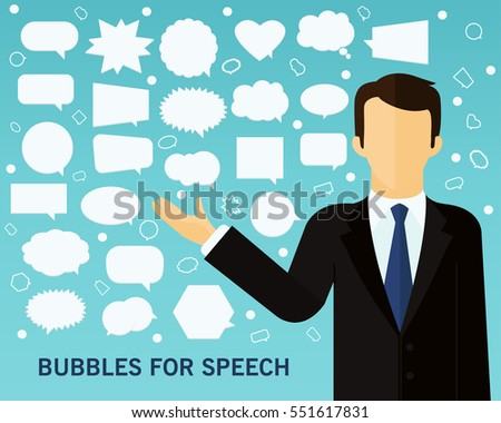 bubbles of speech concept background. Flat icons.