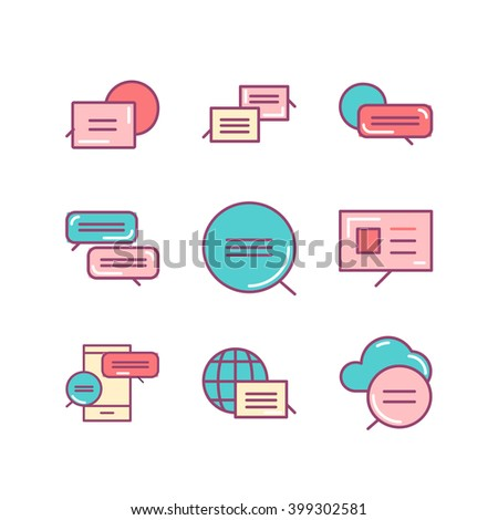 Bubbles signs set. Thin line art icons. Flat style illustrations isolated on white. - stock vector