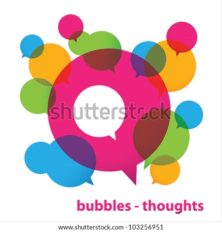 Bubbles - thoughts. Collection of colorful speech bubbles and dialog balloons. Vector - stock vector