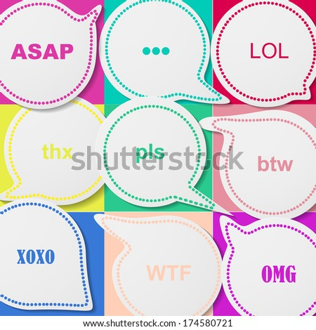 Bubbles with abbreviations, eps10, vector - stock vector