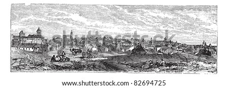 Bucharest, city, Romania, old engraved illustration of Bucharest, city, Romania, 1890s. Trousset encyclopedia (1886 - 1891).