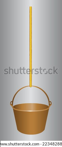Bucket for construction work on the rope. Vector illustration.