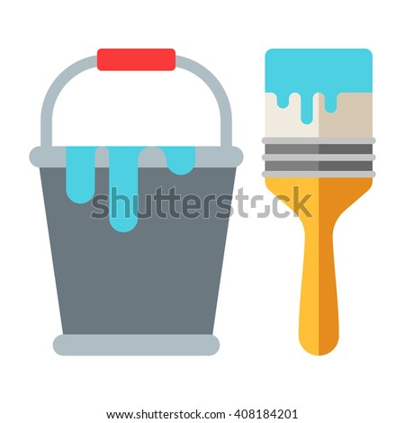 Bucket of paint and brush. Flat vector illustration isolated on white. Flat icon. Hand instrument