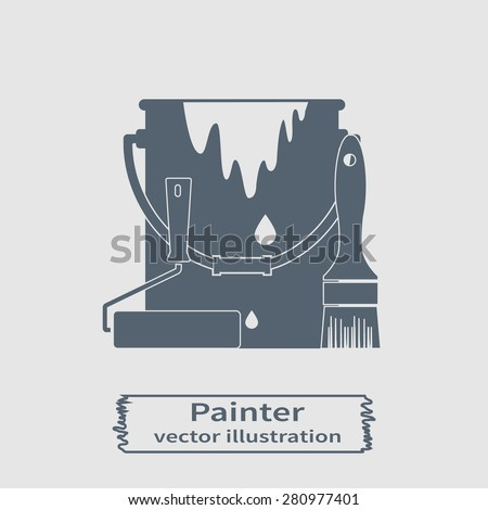 Bucket of paint, brush and paint roller. Painting services. Painting work. logo. - stock vector