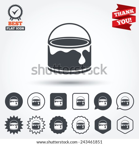 Bucket of paint icon. Painting works sign. Painter equipment. Circle, star, speech bubble and square buttons. Award medal with check mark. Thank you ribbon. Vector - stock vector