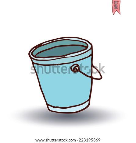 bucket, vector illustration. - stock vector