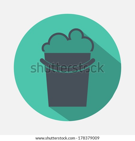 bucket with detergent icon - stock vector