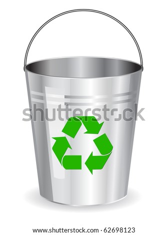 bucket with recycle symbol - stock vector