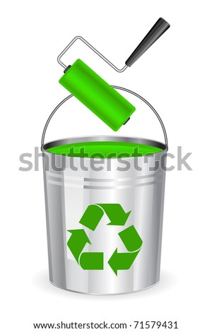 bucket with roller and green paint - concept - stock vector