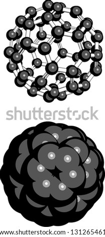 Buckminsterfullerene (buckyball, C60), molecular model. Atoms are represented as spheres - stock vector
