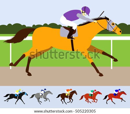 Buckskin race horse with jockey on racecourse. Flat design vector illustration. 6 racehorses in different phases of the galop and different colors.