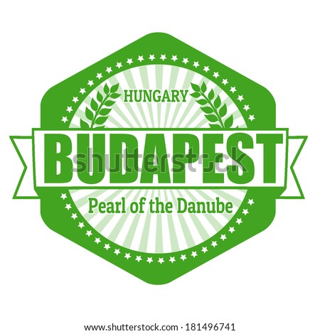 Budapest capital of Hungary label or stamp on white, vector illustration - stock vector