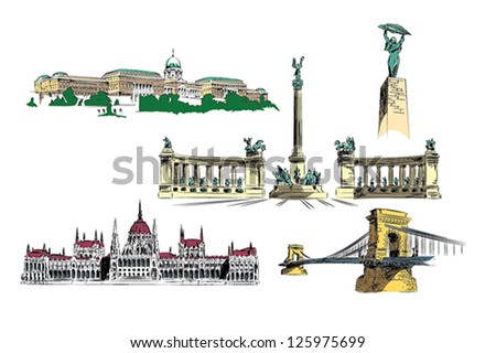 Budapest vector drawings - illustration package of important landmarks of Budapest - stock vector