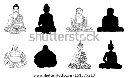 Buddha Black Vector Illustration Outline & Silhouettes - stock vector