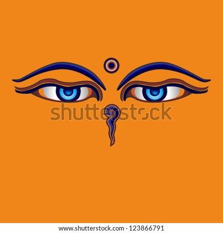Buddha eyes, Nepal - stock vector