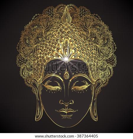 Buddha face over ornate mandala round pattern. Esoteric vintage vector illustration. Indian, Buddhism, spiritual art. Hippie tattoo, spirituality, Thai god, yoga zen. Gold over black design. - stock vector