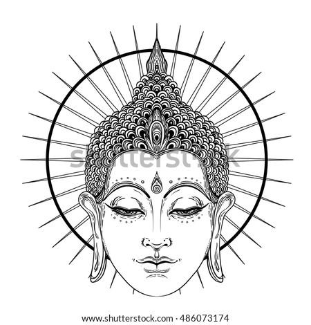 Buddha Face Over Ornate Mandala