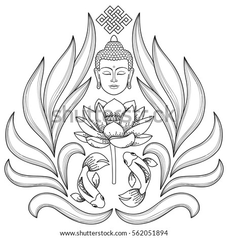 Buddha Head Endless Knot Lotus Fishes Stock Vector Royalty Free