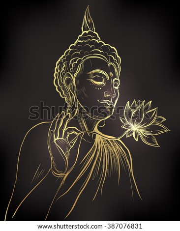 Buddha holding Lotus flower. Gold vector illustration isolated on black. Sketchy style,hand drawn. Vintage drawing. Indian, Buddhism, Spiritual motifs. Tattoo, yoga, spirituality. - stock vector