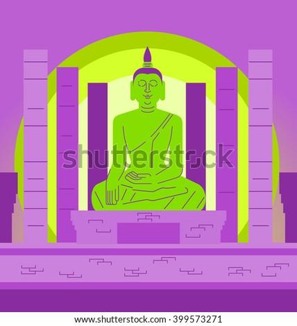 Buddha in Thailand, Vector illustration flat design - stock vector