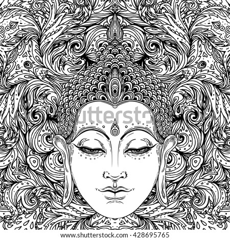 Buddha over ornate mandala round pattern.  vector illustration. Vintage decorative zentangle composition. Indian, Buddhism, Spiritual buddha motifs. Coloring book pages for adults