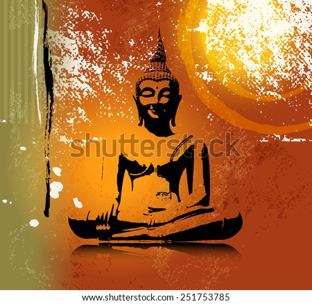 Buddha silhouette in lotus position against colorful grunge background - stock vector