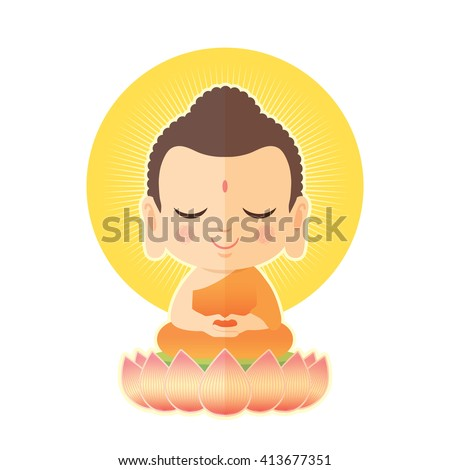 Buddha sitting on lotus. Cute Buddha cartoon vector illustration isolated on white background. - stock vector