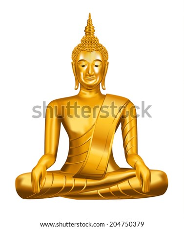 Buddha statue on white background - vector