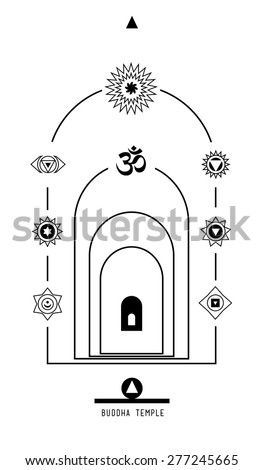 Buddha temple. Buddhist Hindu tantric symbol  harmony and balance cosmos and the universe. Used in the design tattoo typography logos badges corporate identity  poster yoga Ayurvedic - stock vector