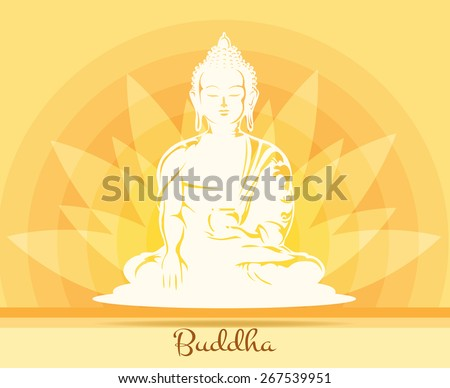 Buddha with lotus flower. Buddhism and yoga, health and symbol, vector illustration