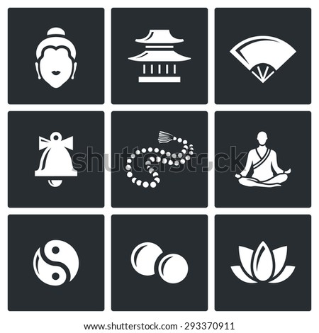 Buddhism icons set. Vector Illustration. Isolated Flat Icons collection on a black background for design - stock vector