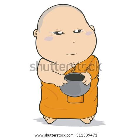 Buddhist Monk Character Cartoon Design-Vector Illustration  - stock vector