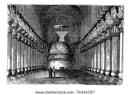 Buddhist stupa in Karla caves, in Karli, Lonavala , Maharashtra , India vintage engraving. Old engraved illustration of pillars and Buddhist stupa in Karla caves. Trousset encyclopedia - stock vector