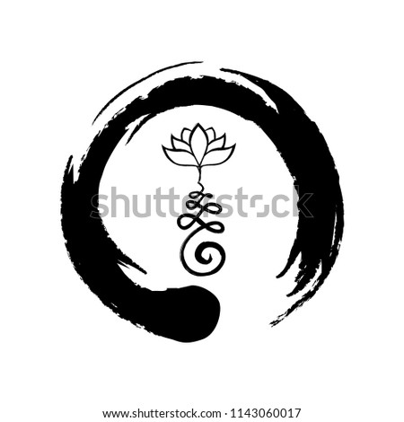 Buddhist symbol life path lotus flower stock vector 1143060017 buddhist symbol for life path with lotus flower inside zen symbol mightylinksfo