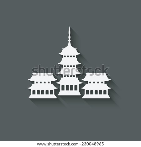 Buddhist temple design element - vector illustration. eps 10 - stock vector