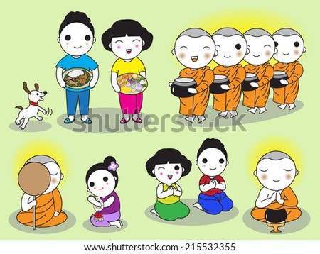 Buddhist Thai Monk and People Characters illustration set