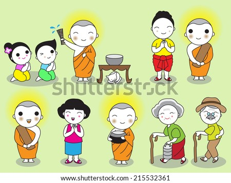 Buddhist Thai Monk and People Characters illustration set - stock vector