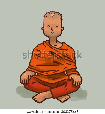 Buddhist young Monk, vector - stock vector