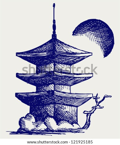 Buddhist Zen Temple. Doodle style - stock vector