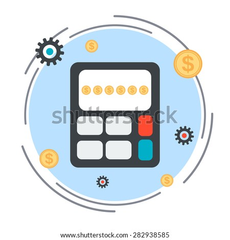Budget calculation, financial statistics, profit counting flat design style vector concept illustration - stock vector