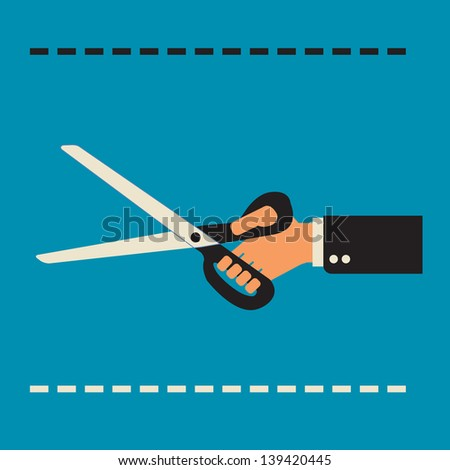 budget cut  - scissors in hand - stock vector