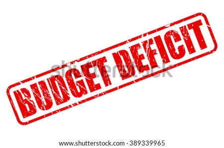 BUDGET DEFICIT red stamp text on white - stock vector