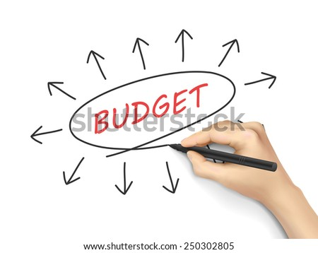 budget word written by hand on white background - stock vector