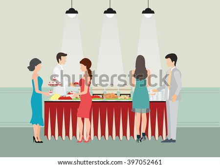 Buffet Dinner Dining Food Celebration Party, Buffet table with many food, roasted Turkey, salad, spaghetti, lobster and fruit, vector illustration. - stock vector
