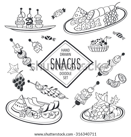 Buffet snacks doodle set. Hand drawn food icons isolated on white background. Doodle food and drinks collection. Cheese, fruits, canapes, tartalets. - stock vector