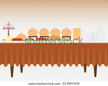 Buffet table with many food, roasted Turkey, salad, spaghetti, lobster and fruit watermelon and orange, vector illustration. - stock vector