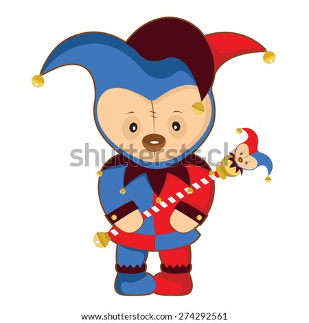 buffoon harlequin blue red color bear with wand - stock vector